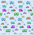 cute cartoon pattern with colorful city transport vector image