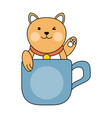 cute cat in mug cartoon vector image vector image