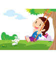 Cute girl sitting on swing vector image vector image