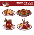 delicious french food collection of vector image vector image