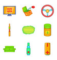 drug icons set cartoon style vector image