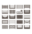 fence and barriers sections set simple monochrome vector image