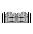 fence silhouette stylish metal gate vector image vector image