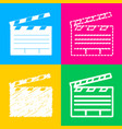 film clap board cinema sign four styles of icon vector image vector image