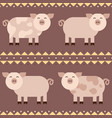 flat funny pigs smiling seamless pattern vector image
