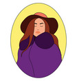 girl in purple coat on white background vector image vector image