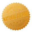gold natural cuisine badge stamp vector image vector image