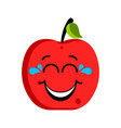 happy apple emoticon vector image