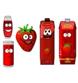 Happy strawberry juice cartoon characters vector image vector image