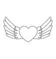 heart with wings flying vector image vector image