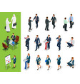 isometric business characters poses handshake vector image vector image