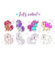 let s color pony funny cute cartoon little chibi vector image vector image