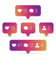 like follower comment icons vector image vector image