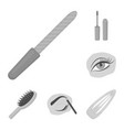 makeup and cosmetics monochrome icons in set vector image vector image