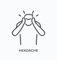 man with headache line icon outline vector image