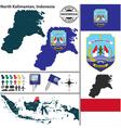 Map of North Kalimantan vector image vector image