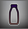 milk bottle sign violet gradient icon vector image vector image