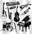 music instruments hand drawn vector image vector image