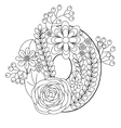 Number 0 coloring book for adults vector image vector image
