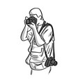 photographer shooting sketch hand vector image vector image