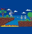 pixel game platform 8-bit video gaming screen vector image
