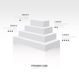 pyramid cube infographic side view white color vector image vector image