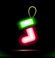 red gift christmas sock icon neon lamp vector image vector image