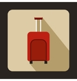 Red travel suitcase icon flat style vector image vector image