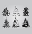 set dreawn christmas trees vector image