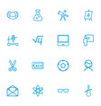 set of 16 editable teach outline icons includes vector image