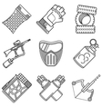 Set of black line icons for paintball vector image