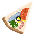slice pizza with seafood and veggiesprint vector image vector image