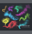 smoke a set different color realistic vector image vector image