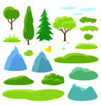 summer set trees mountains and hills seasonal vector image vector image