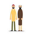 two muslim arabic people standing together in vector image vector image