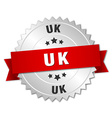 uk round silver badge with red ribbon vector image vector image