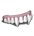 vampire teeth on white background vector image vector image