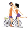 woman kissing a cyclist man who has won the race vector image