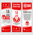 world donor day blood donation banners vector image vector image