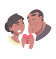 young couple in love holding heart vector image vector image
