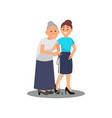 young girl volunteer caring for elderly woman old vector image