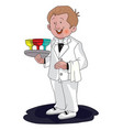 waiter with drinks on tray vector image
