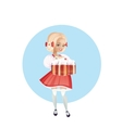 Attractive woman in dirndl with beers vector image vector image
