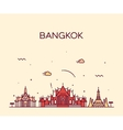 Bangkok skyline trendy linear vector image