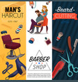 barber shop cartoon banners vector image vector image