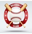Baseball ball and wooden bats with ribbons vector image vector image