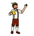 bavarian man hoding beer glass vector image vector image