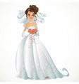 Beautiful bride with pink bouquet vector image vector image