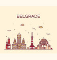 belgrade serbia skyline city linear style vector image