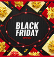 black friday super sale poster with realistic red vector image